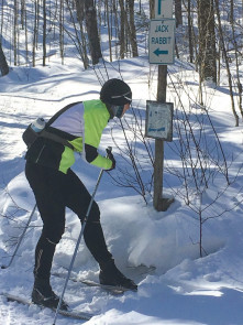 Consulting the trail map along the Blue Spruce Resort trails