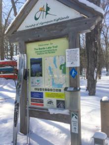 Trailhead signage at Blue Spruce Resort trails
