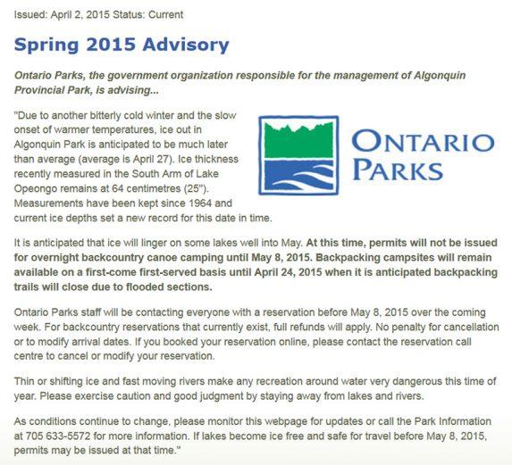 Ontario Parks Advisory