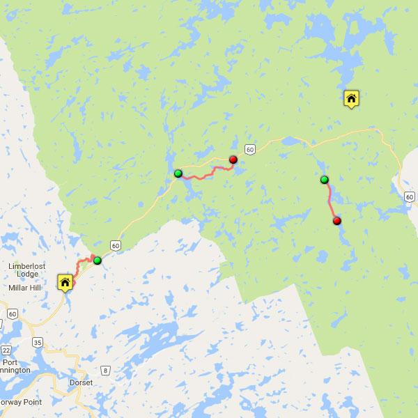 Guided Algonquin Park Day Trip Map