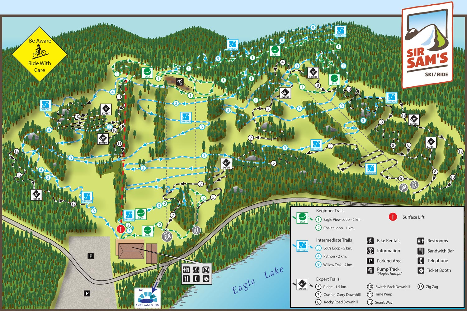 Sir Sam's Mountain Bike Trail Map