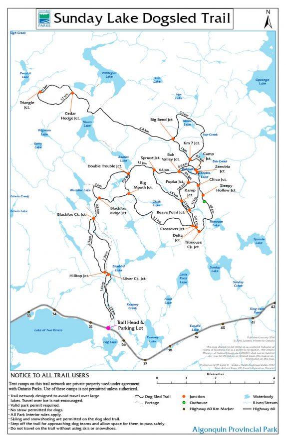 Sunday Lake Dogsled Trail Map