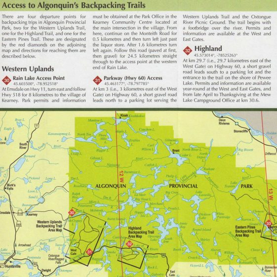 trip overview and navigation through algonquin park Routes starting inside algonquin provincial park  algonquin park through time and space a canoe routes overview: some trip suggestions.