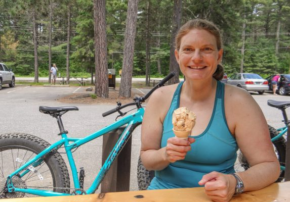 Ice cream from the Algonquin Outfitters Lake of Two Rivers store after a ride