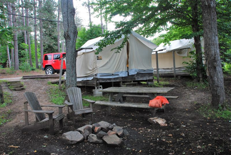 A tent cabin and firering