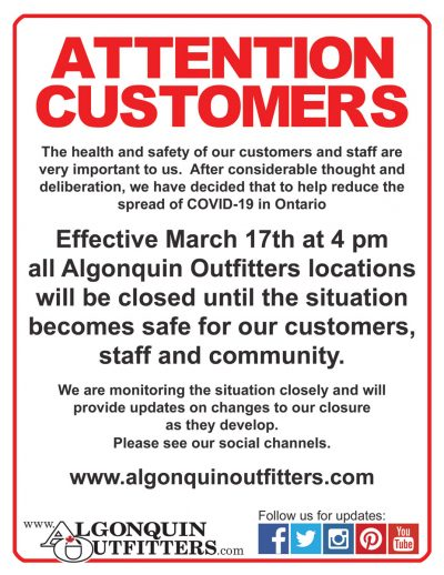 Algonquin Outfitters Coronavirus Update