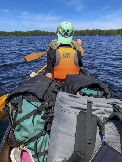 Paddling our gear out to Tom Thomson Lake.